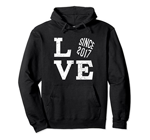 Unisex 1st Wedding Anniversary Hoodie For Married In 2017 Large Black