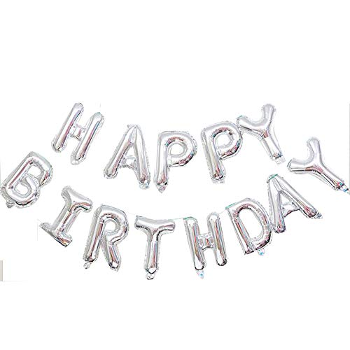 Yichen Xu Happy Birthday Balloons Banner, Aluminum Foil Balloons Alphabet for Birthday Party Decoration, Inflatable Party Decor for Kids and Adults, Reusable, Ecofriendly -