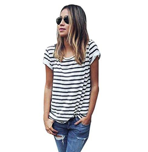 VESNIBA Women Casual Stripe Short Sleeve Loose Summer T-shirt Tops Shirt Blouse (L, Black) (Milk Maiden Adult Costumes)