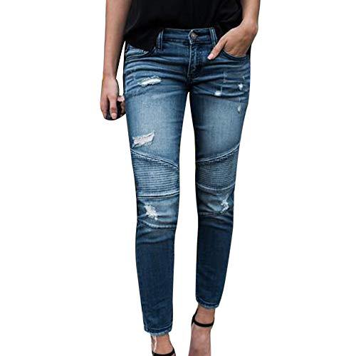 Dihope, Femme Jeans Skinny Trou Dchir Slim Fit Stretch Taille Haute Pants Casual Pantalon en Denim Collant Crayon Vintage Bleu Clair