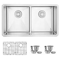 32 inch Undermount 50/50 Low Bowl Divider Kitchen Sink, 16 Gauge Stainless Steel, 10mm Radius Corners, Luxury Basket Strainers and Bottom Grids, S-321XG