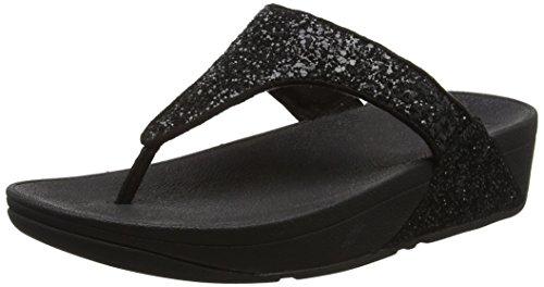 Fitflop Glitterball Toe-post - Sandalias con tacón Mujer Negro (Black)