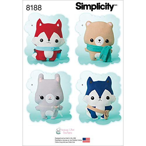 Simplicity 8188 Fox, Wolf, Bear and Bunny Stuffed Animal Sewing Pattern for Boys and Girls by Teacup Lion - Sewing Pattern Bunny