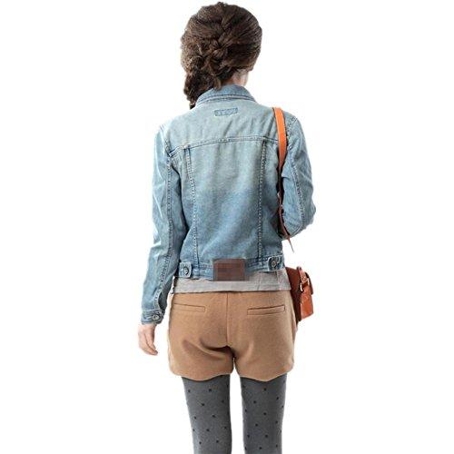 SHISHANG Las mujeres 's primavera chaqueta de mezclilla y mujeres del otoño' s larga - denim chaqueta de mezclilla estilo de las mujeres europeas y americanas de manga 's figure color