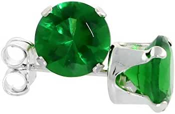Sterling Silver Cubic Zirconia Emerald Earrings Studs 6 mm Emerald color Color 2 cttw