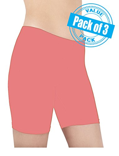 Sexy Basics Women's 3 Pack Cotton Spandex Bike Yoga Boxer Boyshort (X-LARGE / 8, SOFT ROSE PINK)