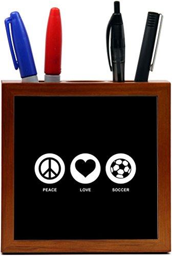 Rikki Knight Peace Love Soccer Black Color Design 5-Inch Tile Wooden Tile Pen Holder (RK-PH42776) by Rikki Knight