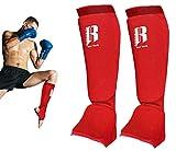 RIMSports Muay Thai Shin Guards - Premium MMA Shin Guards and Shin Pads - Ideal Shin Guard for MMA, Wrestling, Sparring, Muay Thai, Kickboxing & Karate (Red, XS/XXS)