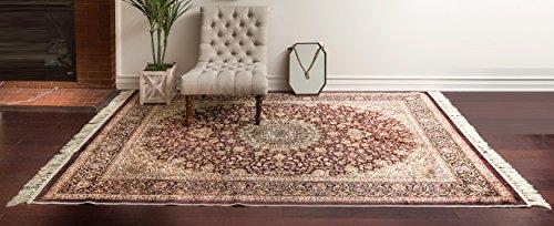 homemusthaves lujo de alta densidad persa tradicional Beige sintética de color café sedoso Oriental anudada a mano alfombra...