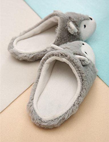 Women Ladies Winter Thermal Thick Coral Fleece Slippers Feet Warmer Cozy Comfort Antiskid Slip-On House Slippers Footwear Shoes, 3D Fox Design by Fakeface (Image #4)