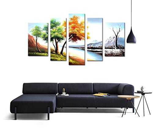 FLY SPRAY 5-Piece 100% Hand Painted Oil Paintings Landscape Panel Stretched Framed Ready Hang Tree Snow River Mountain Modern Abstract Canvas Living Room Bedroom Office Wall Art Classic Home (Hand Painted Canvas Panels)