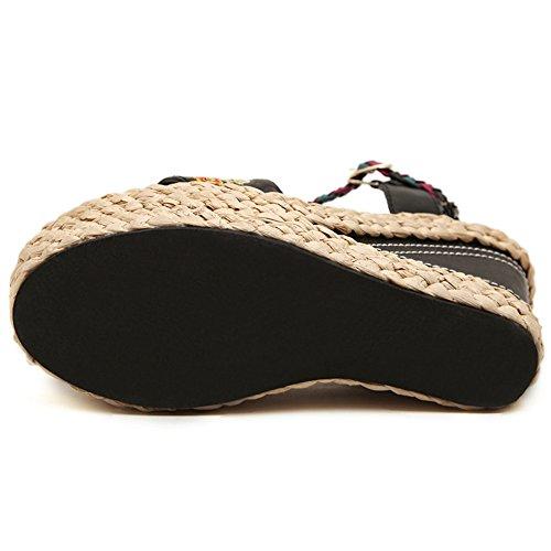 De Comodidad Peep Cuña Plataforma Toe Tacón Casual Slingback Sandalias Hn Zapatos Alto Black Verano Fiesta Mujer Cuero Shoes wqtp1C8E