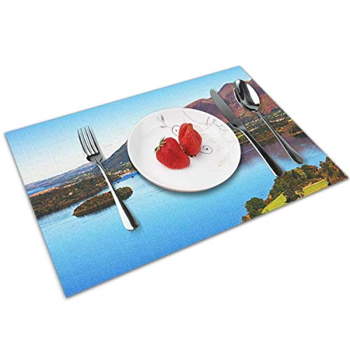 POQQ Placemats for Dining Table Derwent Water Lake District, Washable Easy to Clean PVC Placemat, Heat Resistand Kitchen Dinner Table Mats 12x18 Inches Set of 4