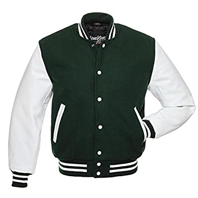 C107 Forest Green Wool White Leather Varsity Jacket Letterman Jacket