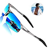 ROCKNIGHT Driving Polarized Sunglasses for Men UV Protection Mirrored Sunglasses Ultra Lightweight Al-Mg Metal Outdoor Golf Fishing Sports Sunglasses Rimless