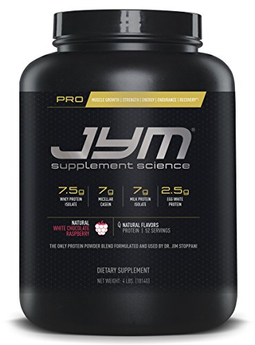 JYM Supplement Science, PRO JYM, An optimal Blend of Whey, Casein, and Egg Proteins, Natural White Chocolate Raspberry, 4lb Protein