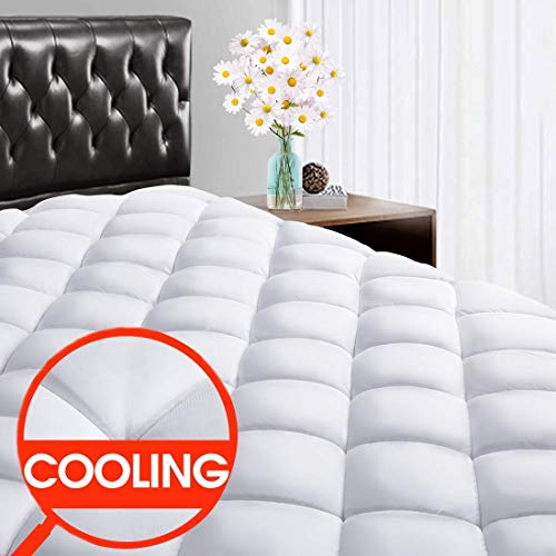 SOPAT Calking Mattress Pad Cover - 400 Thread Count Cooling Pillow Top Plush Mattress Topper Reversible Quilted Fitted Mattress Cover with 8-21