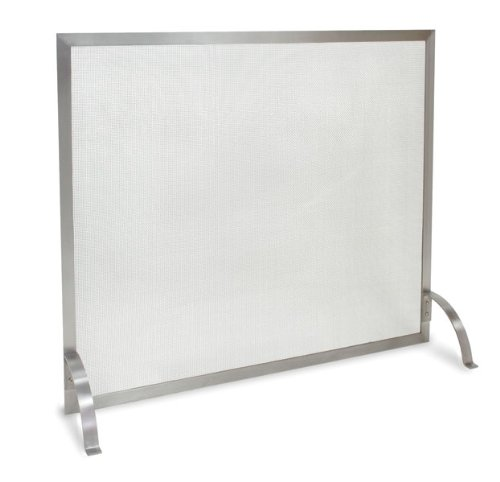 Pilgrim Home and Hearth 18257 Newport Single Panel Fireplace Screen, Stainless Steel, 39″W x 31″H, 15 lb,