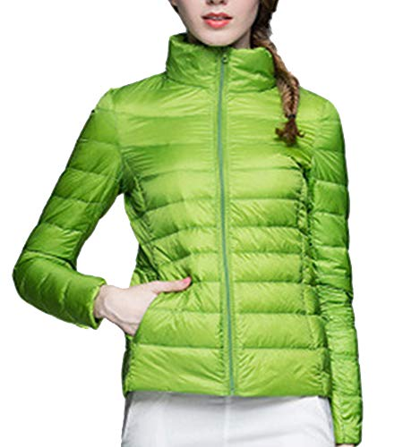 1 Jacket ZiXing Stand Down Light Puffer Coat Quilted Down Collar Ultra Parka Outdoor Jacket Women's Green Packable Warm Coat Cx1nHCqUw
