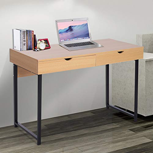 Price comparison product image Compact Modern Computer Table Storage Study Working Desk with Slide Out Drawers Wood 48 Inch