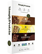 SimplyProtein Variety Pack, Plant Based, Very High in Fibre, Gluten Free, 2 g Sugar, Plant Powered Fuel, Snack Bar - Peanut Butter Chocolate x 5, Dark Chocolate Almond x 5, Lemon Coconut x 5