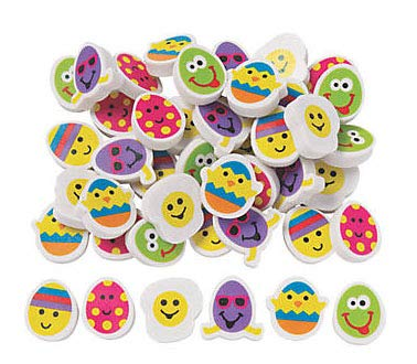 Curious Minds Busy Bags 144 Easter Shaped Erasers - Egg Filler - Math Counting Manipulatives - Patterning and Sorting - Early Education - Small Novelty Prize Toy - Party Favors - Gift - Bulk 12 Dozen
