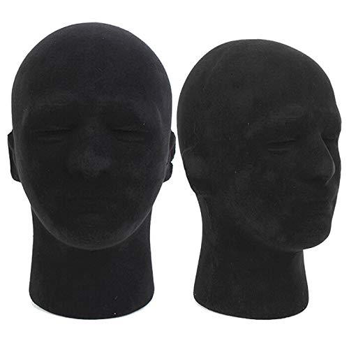 Mannequins - Polystyrene Black Foam Men Model Mannequin Head Dummy Stand Shop Display Hat 2 X - Practice Wigs Resistant Makeup Girl Extensions Ground Vase Retail Black Vine Bald Short Cor