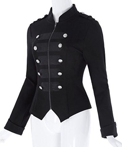 Kate Kasin® Mujer Ropa de Abrigo Chaquetas Cierre de Cremallera Negro Chaqueta ES464