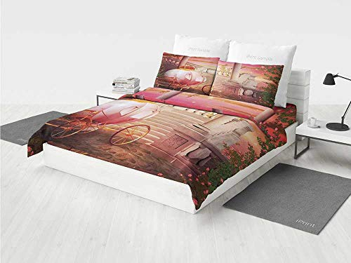 (Kids Bedroom Disney Bedding Set Fantasy Fairy Tale Princess Palace Carriage Magical Starry Night Art Print Decorative Printing Four Pieces of Bedding Set)