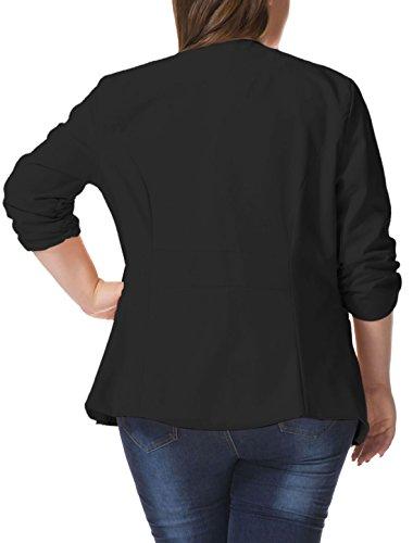 Alya Women Plus Size 3/4 Sleeves Turn Down Collar Blazer Black 1X