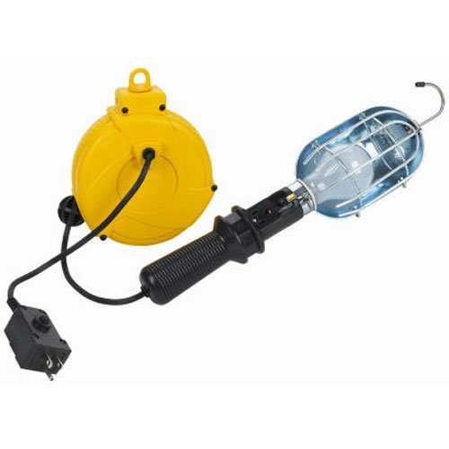 Incandescent Plastic Retractable Cord Reel Work Light ()