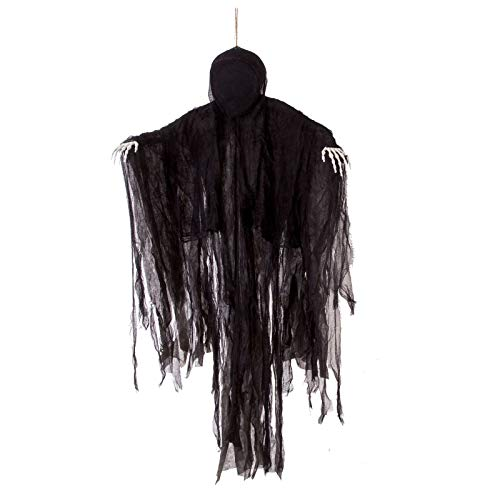 5 Ft Dark Hanging Grim Reaper, Faceless Ghost in Black Horror Robe for Best Halloween Hanging Decorations -