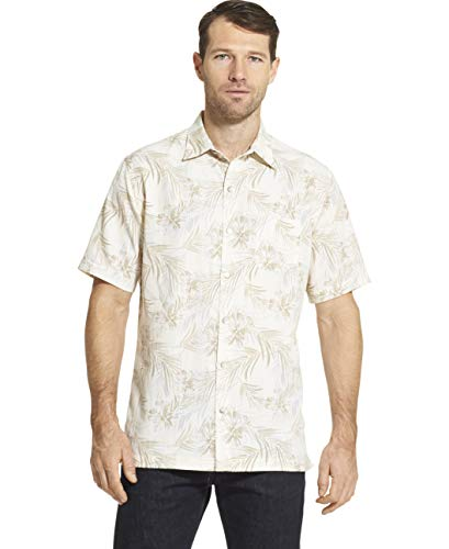 (Van Heusen Men's Air Tropical Short Sleeve Button Down Poly Rayon Shirt, Whisper White, Large)
