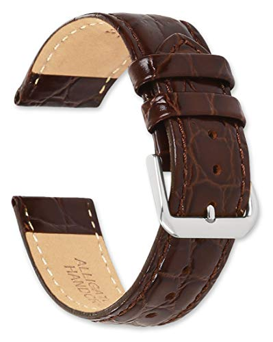 - deBeer - 19mm Alligator Grain Watch Strap - Brown - Extra Long Length Leather Watch Band