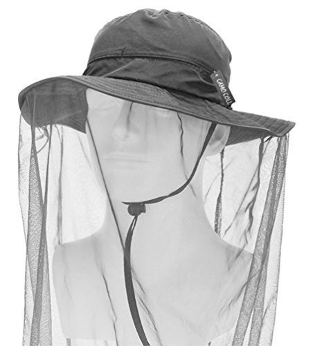 (Camo Coll Outdoor Anti-mosquito Mask Hat with Head Net Mesh Face Protection (Dark Gray, One Size))