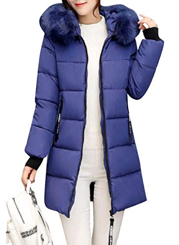 Casual Pockets with Blue Jacket Collar Women Denim Slim Howme Fluffy Puffer E86PTgqO