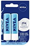 NIVEA Hydro Care Lip Balm (2 x 4.8g), Hydrating Caring Lip Moisturizer with Aloe Vera, Natural Avocado & Shea Butter, 24H Hydration