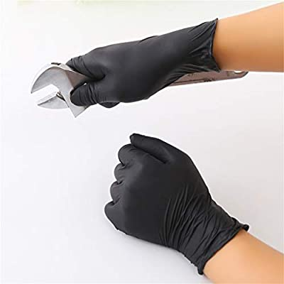Nitrile Exam Gloves,150 Pcs Comfortable Disposable Protective Gloves - Safety, Powder Free, Latex Free (Black): Clothing