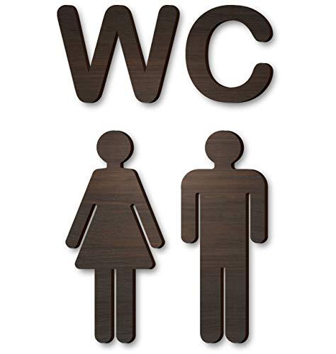 Wood Self-Adhesive WC Brown Sign - Rustic Bathroom Decor - Toilet Door Sign - Antique Style Restroom Sign - Washroom Toilet Bathroom Sign - Loo Sign Door Accessories - Men's Women's Bathroom Sign ()