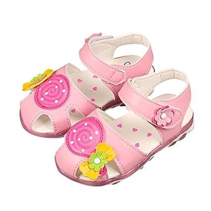 0185472fb3684 Amazon.com : Morrivoe Girls Flower Print Sandals Sneaker Kids Summer ...