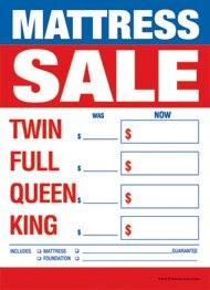 "Retail Merchandising Signs LLC T50MAS Furniture Mattress Sale Twin-Full-Queen-King - Slotted Sale Tags - 5"" x 7"" (100 Pack)"