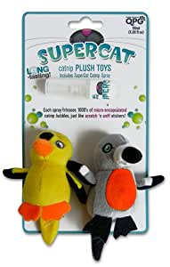 SuperCat Bird Plush Duo Toy with Play-Activated Catnip Spray