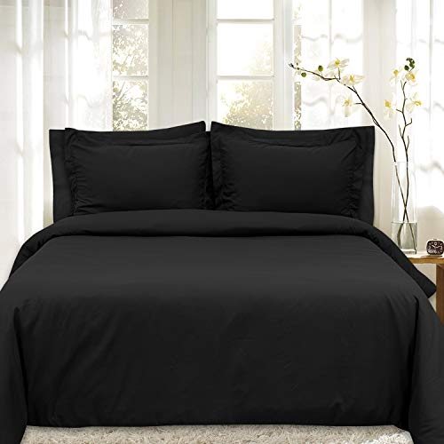 Duvet Cover 5 Piece Includes 2 Shams & 2 Pillowcases 1800 Supreme Soft Hypoallergenic Solid Color Wrinkle and Fade Resistant Set, Black