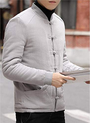 Coat Retro TTYLLMAO Cotton Men's Jacket Button Grey Lined Linen Frog Fleece Outwear 17U6wq7