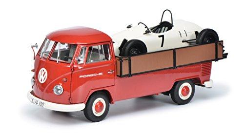 VW T1b Westfalia flatbed platform trailer, Porsche, 0, Model Car,, Schuco 1:18