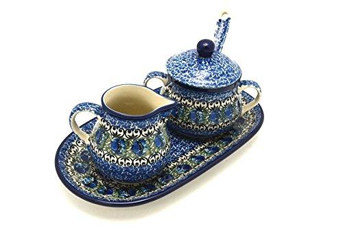 Polish Pottery Cream & Sugar Set with Sugar Spoon - Peacock Feather
