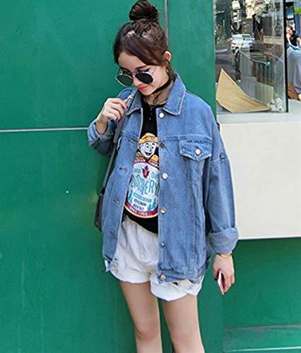 Elegante Lunga Jeans Baggy Di Unico Ragazza Giacche Blau Outerwear Donna Autunno Manica Anteriori Bavero Breasted Moda Single Tasche Giaccone Chic dtfpwzqfvx