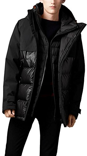 Burberry Brit Men's Black Creston Down Puffer Parka Coat Jacket - XL - Burberry Coat Men