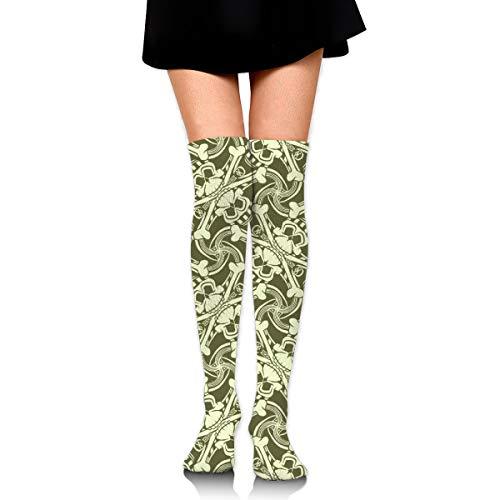 Pirate Skull Plaid Olive Green Girl Over Knee Thigh Socks High Stockings 65 Cm/25.6In ()