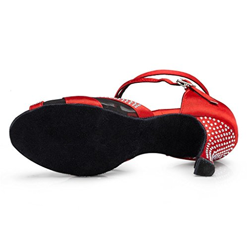Mesh Women's Red US Monie Latin Ballroom Salsa Elegant Strappy Shoes Dance Modern 9B CxxSndH